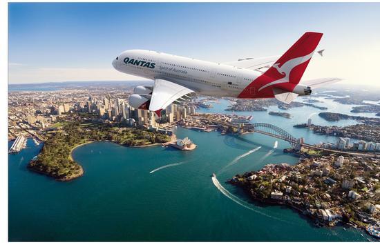 Qantas Airbus 380 jet over Sydney Harbor