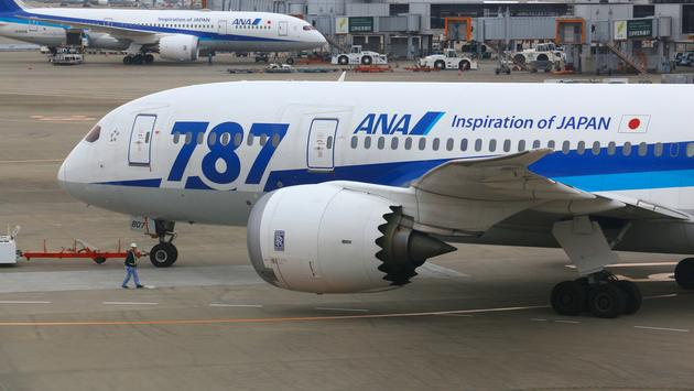 All Nippon Airways (ANA) Boeing 787 Dreamliners at Narita Airport in Japan.