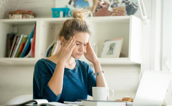 Frustrated woman at the computer