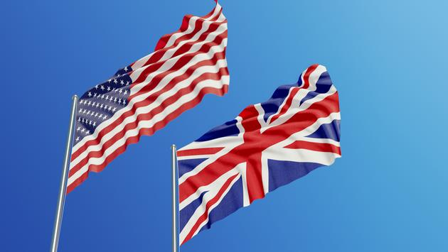 National flags of the U.S. and U.K.