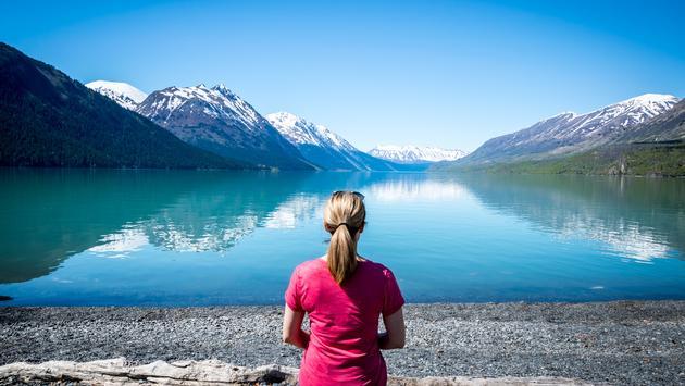 Kenai Lake, Alaska, woman