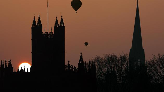 Sunset over spires of the City of Bath in England