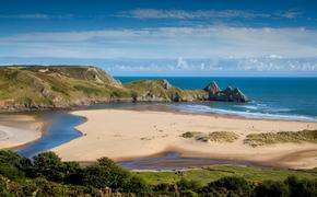 Three Cliffs Bay on the Gower Peninsular, West Glamorgan, Wales, UK