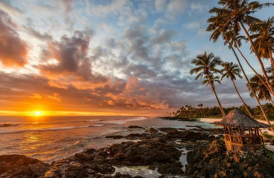 Lefaga Beach, Samoa at sunset