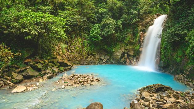 The Rio Celeste waterfall in La Fortuna, Costa Rica