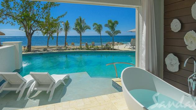 Dutch Beachfront One Bedroom Swim Up Butler Suite with Patio Tranquility Soaking Tub