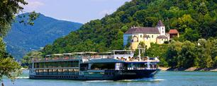 Avalon Expression river cruise ship on the Danube in Austria's Wachau Valley