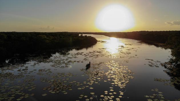 Sunset over Mobai Pond