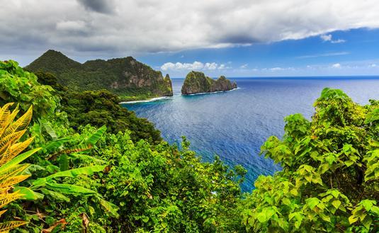American Samoa, ocean, cliffs