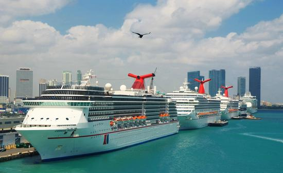 Carnival Cruise Line ships docked at PortMiami