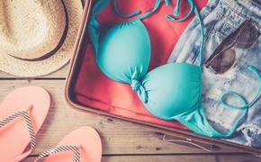 A suitcase with beach clothes