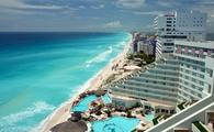 Cancun aerial view of resorts and beach