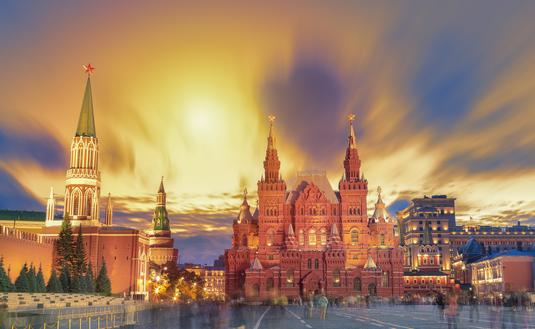 Sunset view of the Red Square in Moscow, Russia