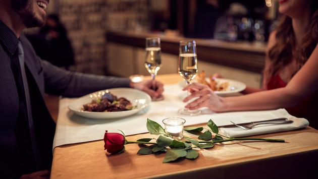 A couple enjoying a romantic dinner