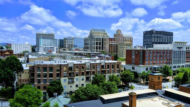 Downtown Greenville as seen from Up on the Roof