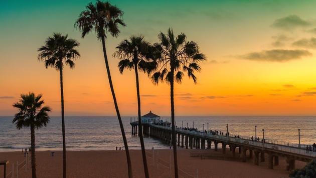 Sunset in Manhattan Beach in Los Angeles, California