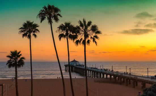 Sunset in Manhattan Beach in Los Angeles, California