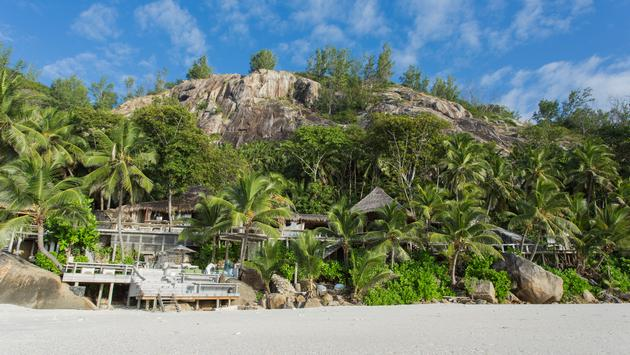 resort, seychelles, palm trees ,beach