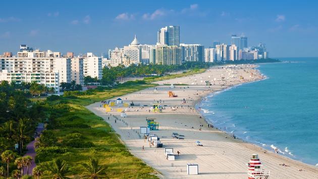 An outlook over Miami Beach, Florida.
