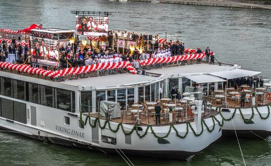 Fireworks celebration during the official naming ceremony of Viking Einar and Viking Sigrun in Basel, Switzerland, with Viking executives, ceremonial godmothers and ship captains