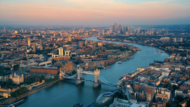 Aerial view of London, UK