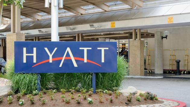 A Hyatt hotel sign in Baltimore, Maryland
