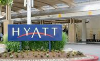 A Hyatt hotel sign in Baltimore, Maryland