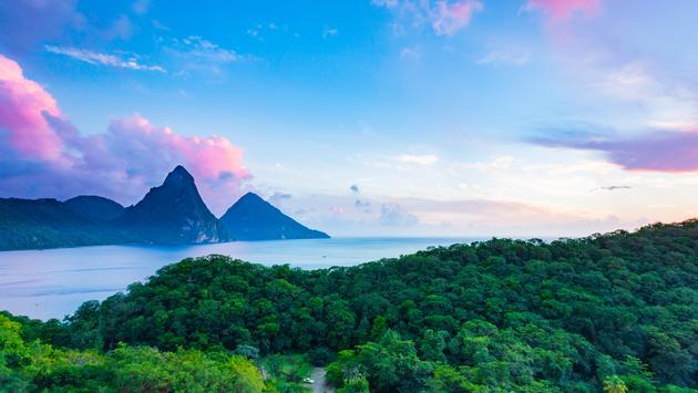 Pitons from Jade Mountain Resort, Saint Lucia