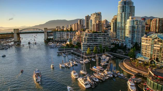 Vancouver BC Canada Cityscape at sunset