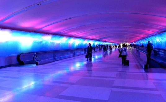 The 'Light Tunnel' at Detroit Metropolitan Airport
