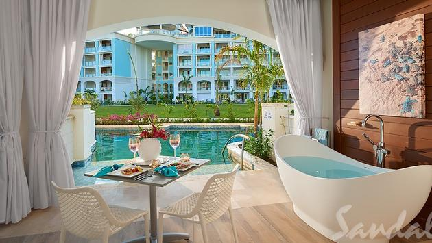 Royal Seaside Swim-up Club Level Ultra Suite, $380 PPPN Sandals Royal Barbados