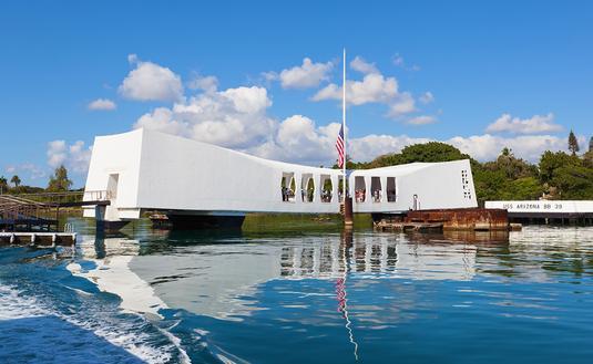 PHOTO: USS Arizona Memorial Pearl Harbor Hawaii (photo via pinggr / iStock / Getty Images Plus)
