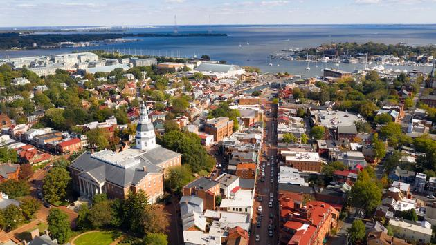 Aerial view of Downtown Annapolis, Maryland