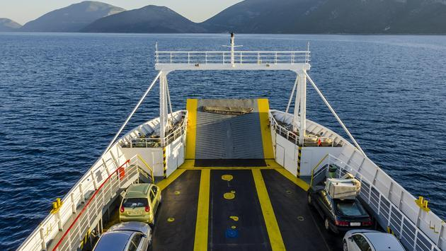 A ferry transporting cars in Europe