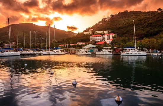 Sunset at Marina in Tortola