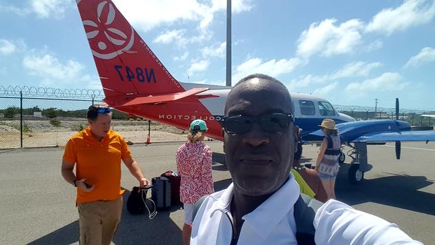 Flight to Ambergis Cay, Turks & Caicos.