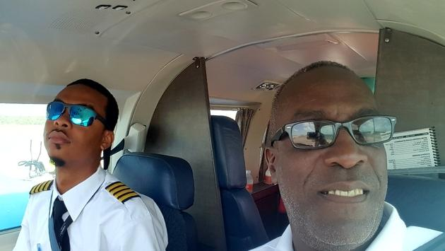 Ambergis Cay pilot prepares for take off.