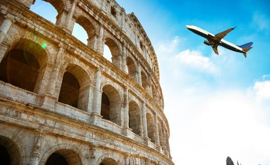 Italy, plane, coliseum, rome