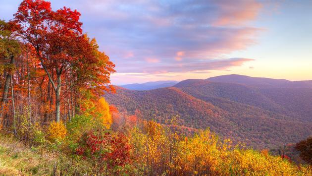 Autumn sunrise in Shenandoah National Park