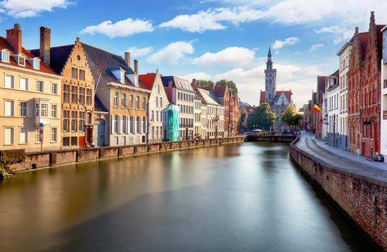 Canals of Bruges, Belgium at sunset