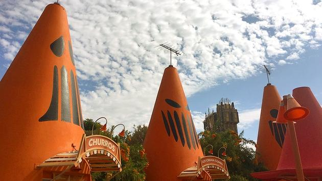 Cars Land dressed up for Haul-O-Ween in front of Guardians of the Galaxy – Mission: BREAKOUT! at Disney California Adventure