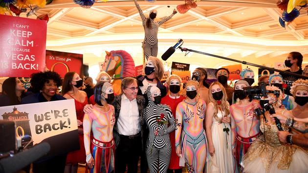 """""""O"""" by Cirque du Soleil's cast on reopening night in Las Vegas."""