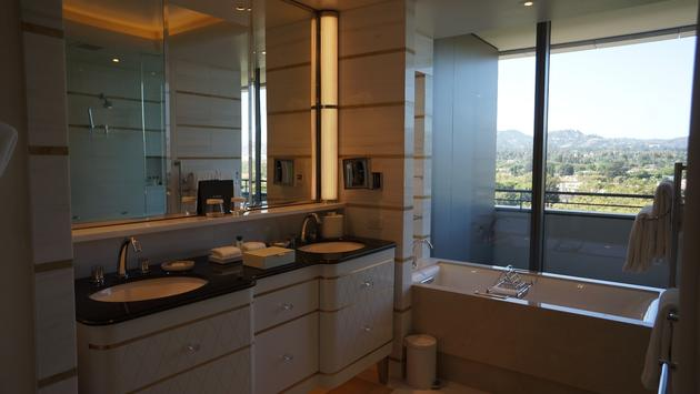 Bathroom inside of a guest room at the Waldorf Astoria Beverly Hills