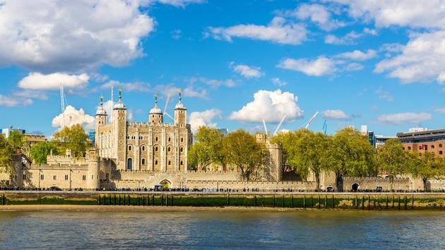 Tower of London alongside the River Thames.