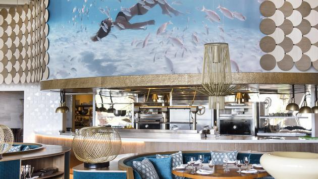 The main dining room inside Fish by Jose Andres at The Cove, Paradise Island at Atlantis