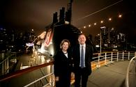 Queen Sonja of Norway and Daniel Skjeldam, CEO of Hurtigruten, onboard the MS Fram.