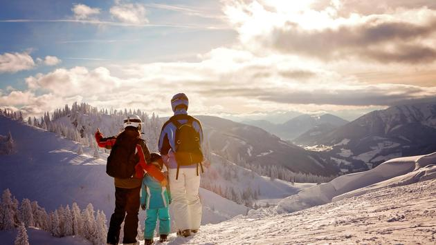Family at a ski resort
