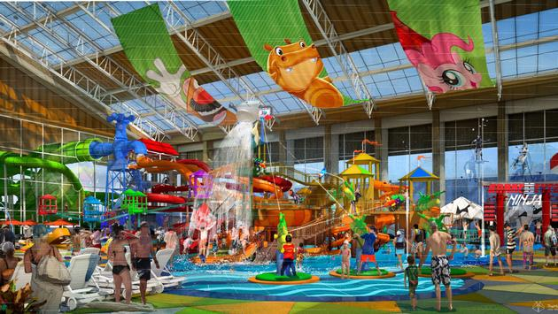 A rendering of the themed waterpark