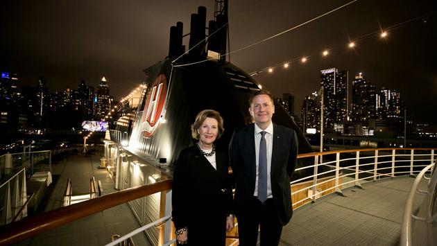 Queen Sonja of Norway and Daniel Skjeldam, CEO of Hurtigruten, onboard the MS Fram.