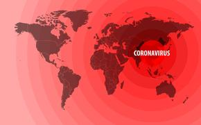 Illustration of the spread of a new coronavirus from China around the world - stock vector